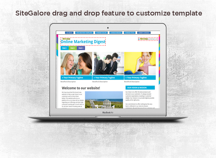 SiteGalore drag and drop feature to customize template